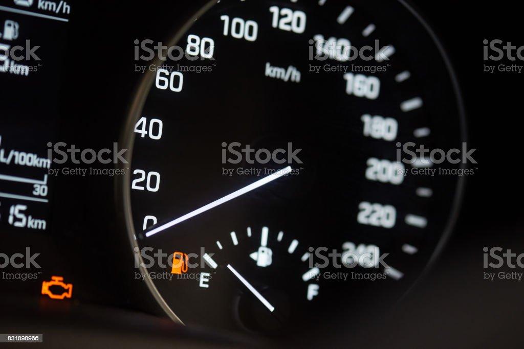 Illuminated car speedometer stock photo