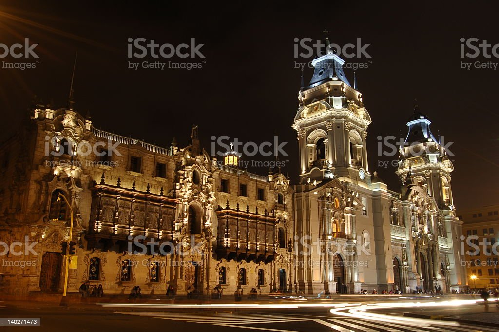 Illuminated Cathedral de Lima at night with blue detail stock photo