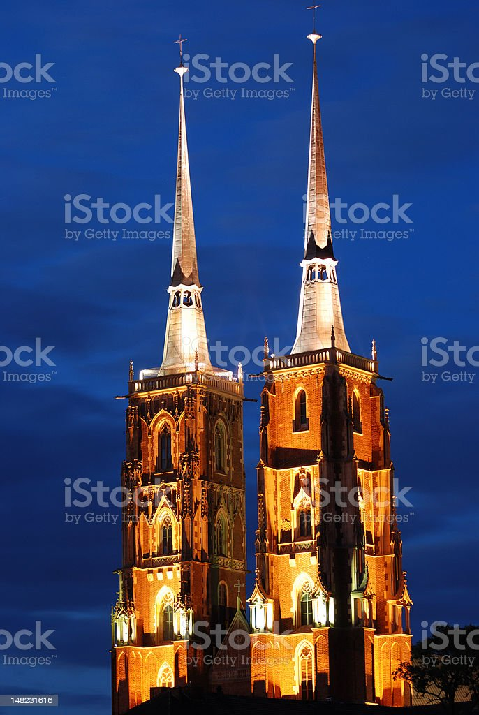 Illuminated Cathedral in Wroclaw at Ostrow Tumski stock photo