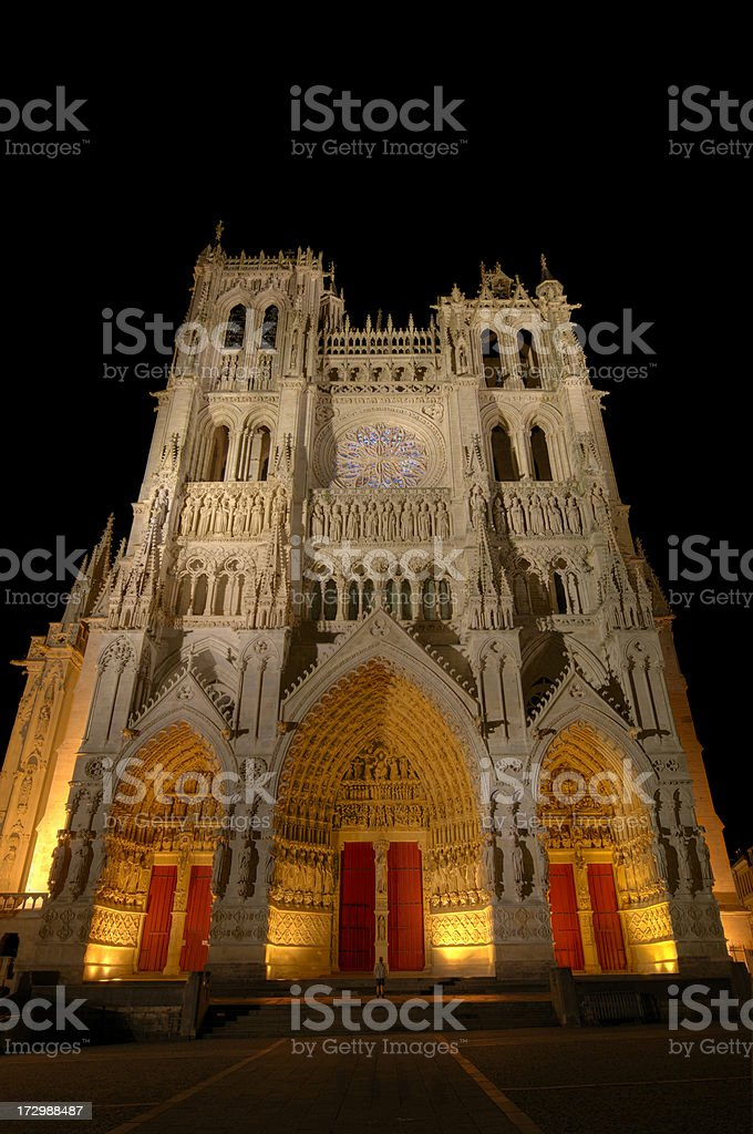 Illuminated Cathedral Notre-Dame d'Amiens stock photo