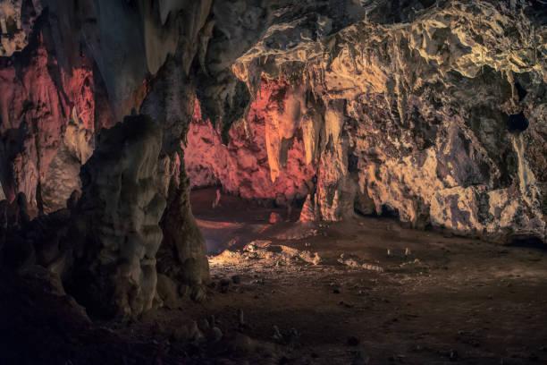 upplyst grotta vid wondercave i lion och rhino park, - stalagmit bildbanksfoton och bilder