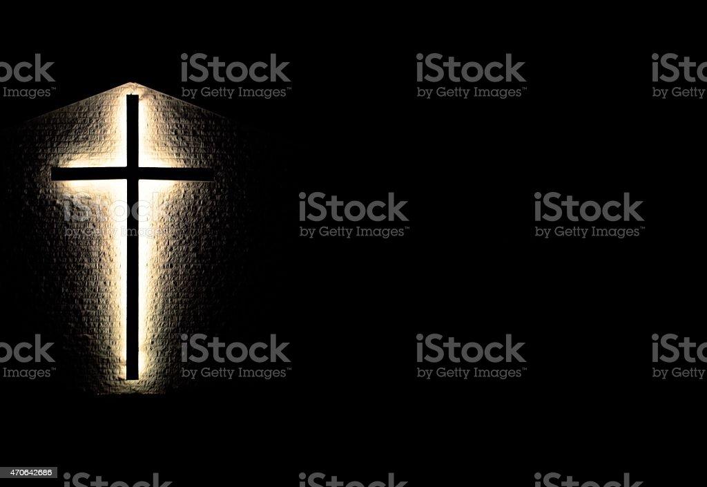 Illuminated Christian Cross Background stock photo