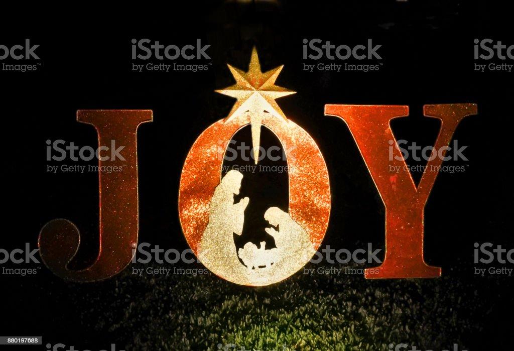 Illuminated Christmas Letters Spelling JOY stock photo