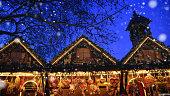 istock Illuminated Christmas market in the night 1173933948