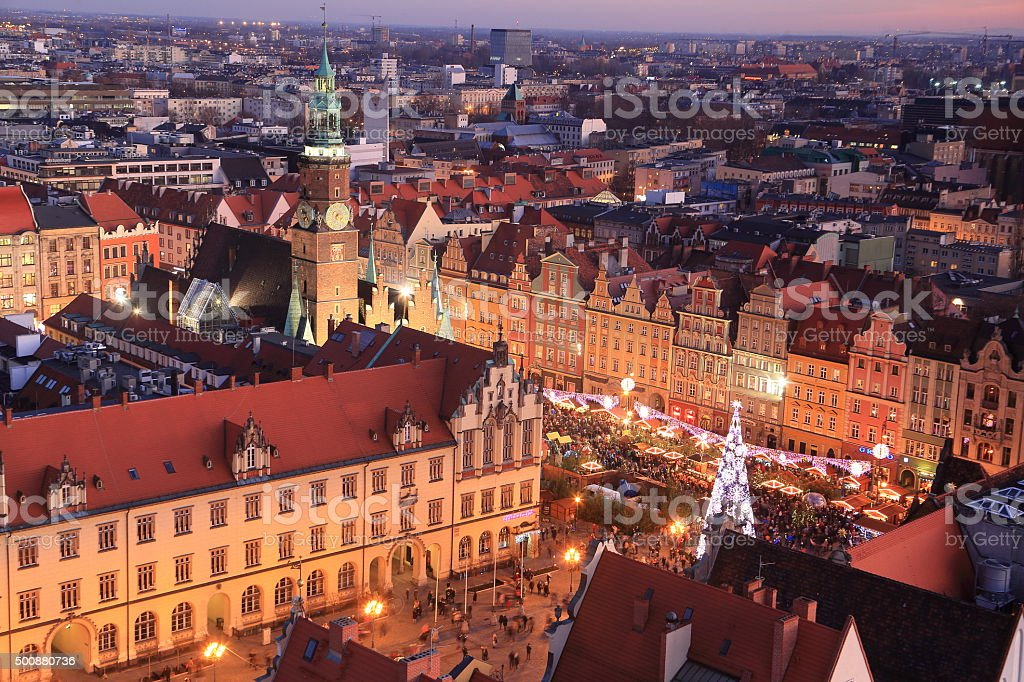 Illuminated Christmas Market in Wroclaw stock photo