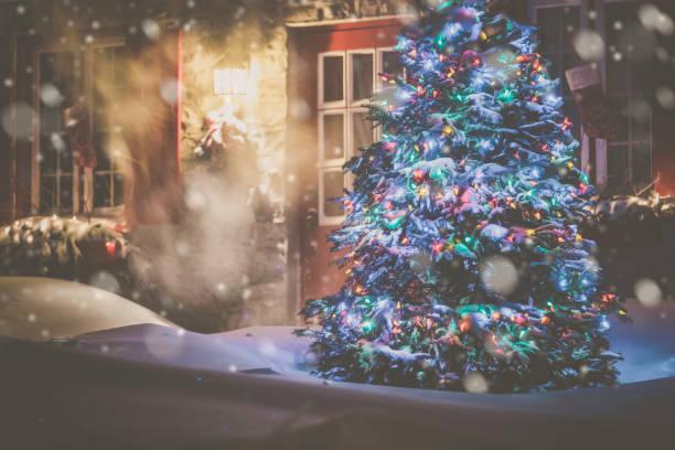 beleuchtete weihnachtsbaum in der nacht im schneesturm - weihnachtlich beleuchtete häuser stock-fotos und bilder