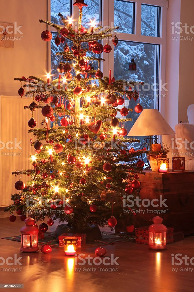 Illuminated Christmas tree stock photo