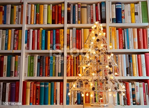 1057183432 istock photo Illuminated christmas tree standing in the library 1057183464