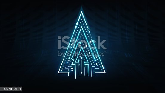 istock illuminated christmas tree triangle shape as integrated circuit background 1067810314