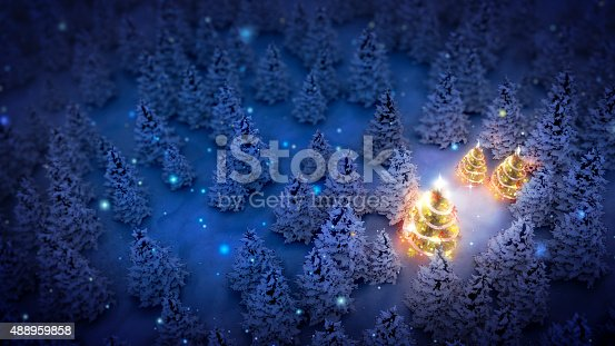istock illuminated christmas trees in pine woods 488959858
