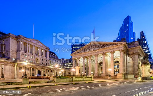 London, UK - February 19, 2020: The Bank of England and the Royal Exchange in the City of London Financial District at Sunset, UK