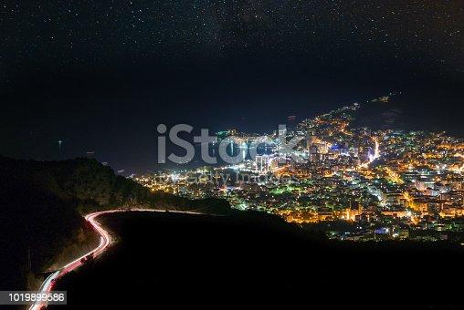 istock Illuminated city under starry sky, Budva, Adriatic coast 1019899586