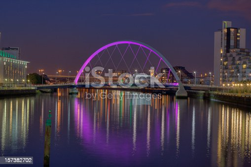 istock Illuminated Clyde Arc / Squinty Bridge, Glasgow, Scotland at night. 157382702