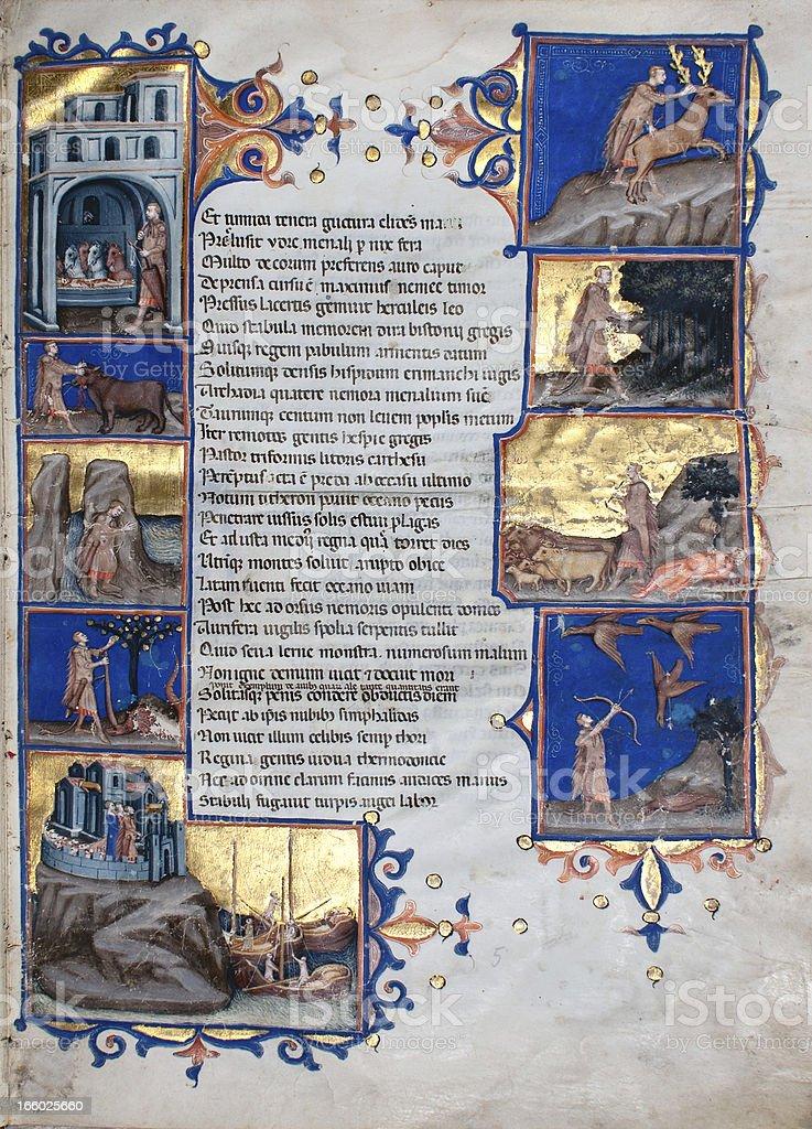 Illuminated code - Virgil's Aeneid stock photo