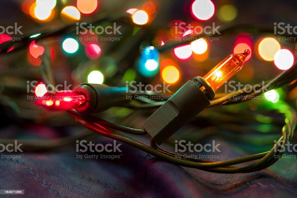 illuminated colored christmas fairy lights royalty free stock photo
