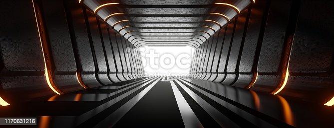 949309726 istock photo Illuminated corridor abstract tunnel. 1170631216