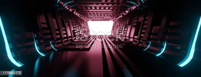 949309726 istock photo Illuminated corridor abstract tunnel. 1170631772