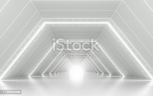 Illuminated corridor interior design. 3D rendering