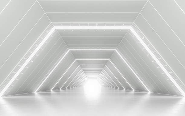 Illuminated corridor Illuminated corridor interior design. 3D rendering showroom stock pictures, royalty-free photos & images