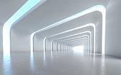 Illuminated corridor interior design. 3D rendering