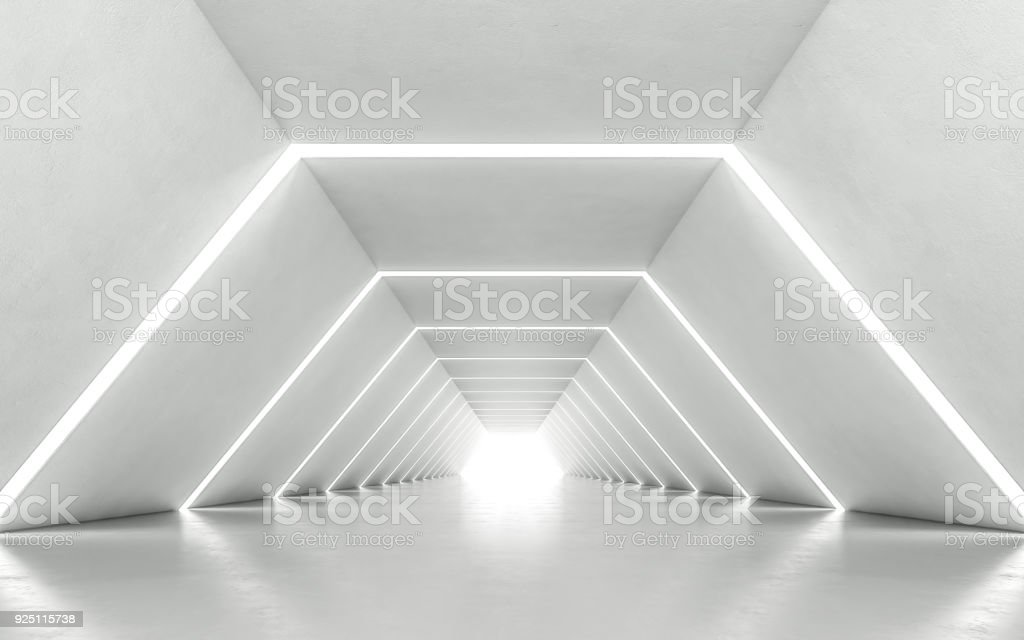 Illuminated corridor stock photo
