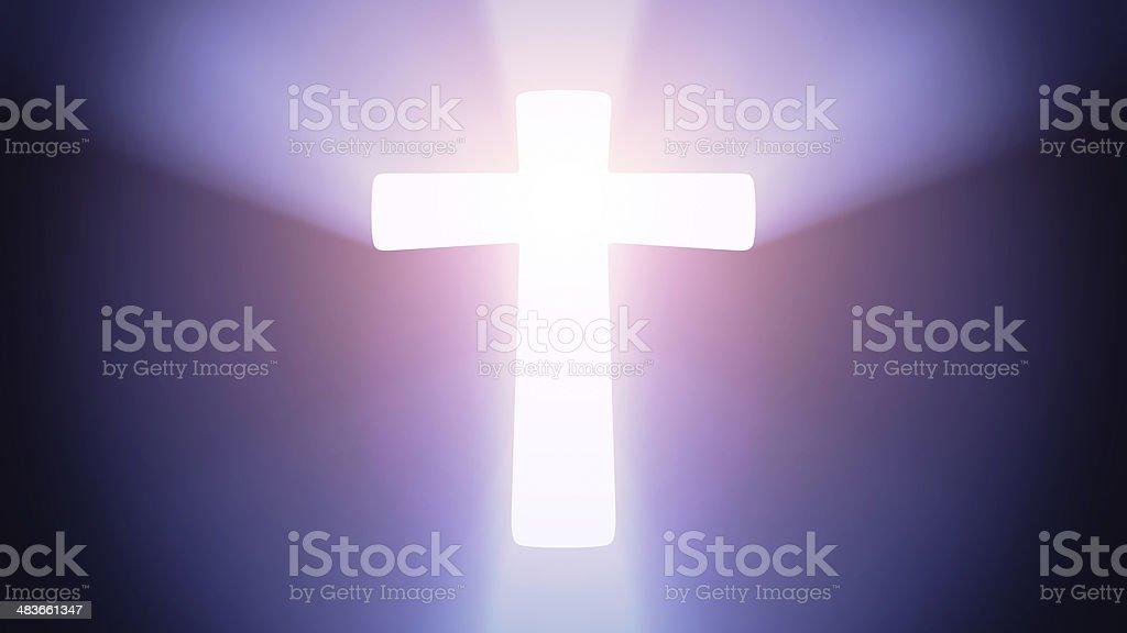 Illuminated cross stock photo