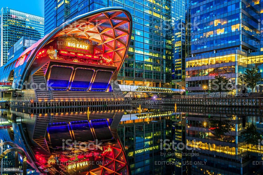 Illuminated Crossrail Place in Canary Wharf stock photo