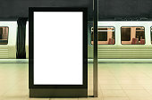 illuminated digital billboard in underground train station mockup