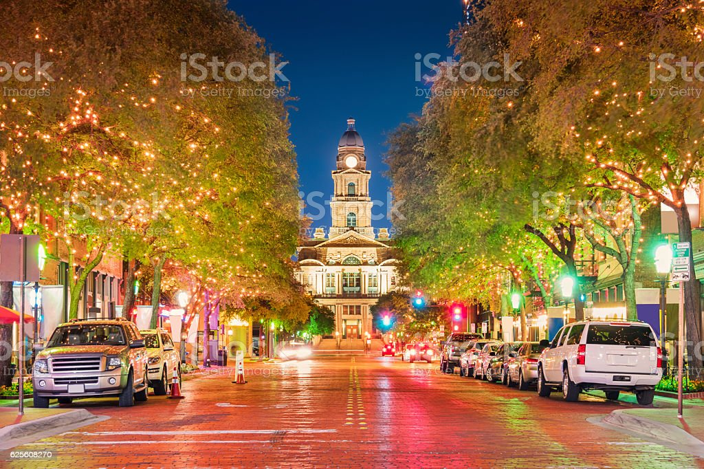 Illuminated Downtown Fort Worth Texas USA at Night stock photo