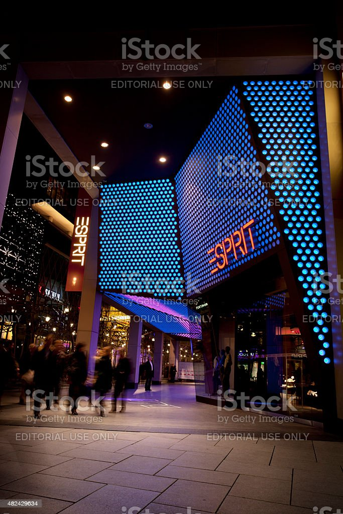 Illuminated Entrance Of Esprit Fashion Shop Frankfurt Stock Photo ...