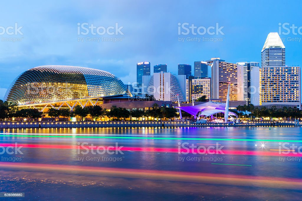 Illuminated Esplanade Theater And City stock photo