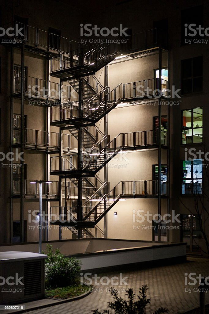 Illuminated External Metal Staircase   Emergency Exit Royalty Free Stock  Photo