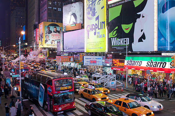 Illuminated facades of Broadway theaters in Times Square, NYC, USA stock photo