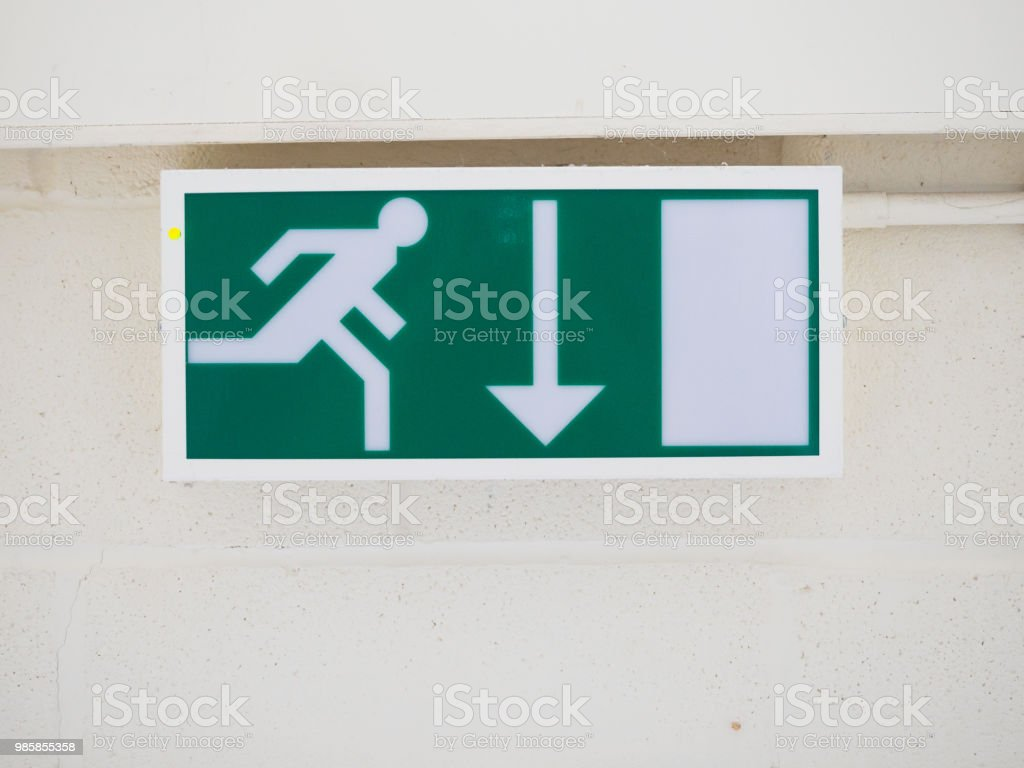 UK Standard Illuminated Fire Exit Sign arrow pointing down