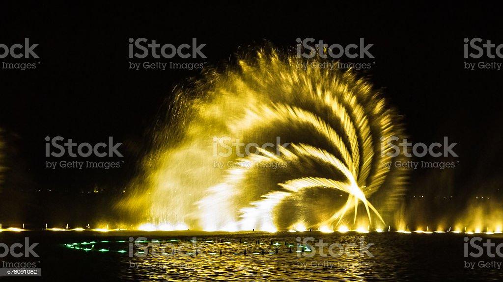 illuminated fountain curves of spraying water at night stock photo