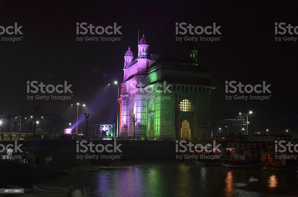 Illuminated Gateway of India stock photo