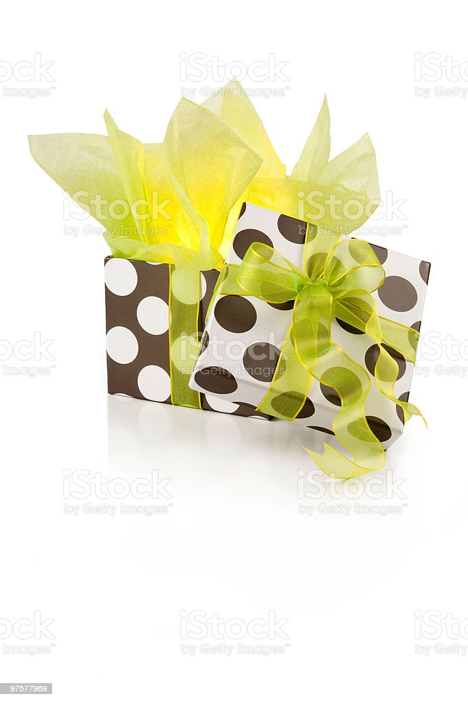 Illuminated gift in green royalty-free stock photo
