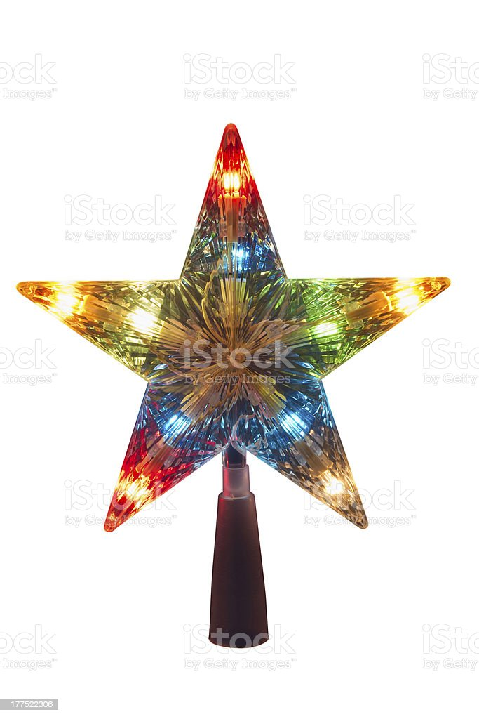 illuminated Golden Christmas tree topper royalty-free stock photo