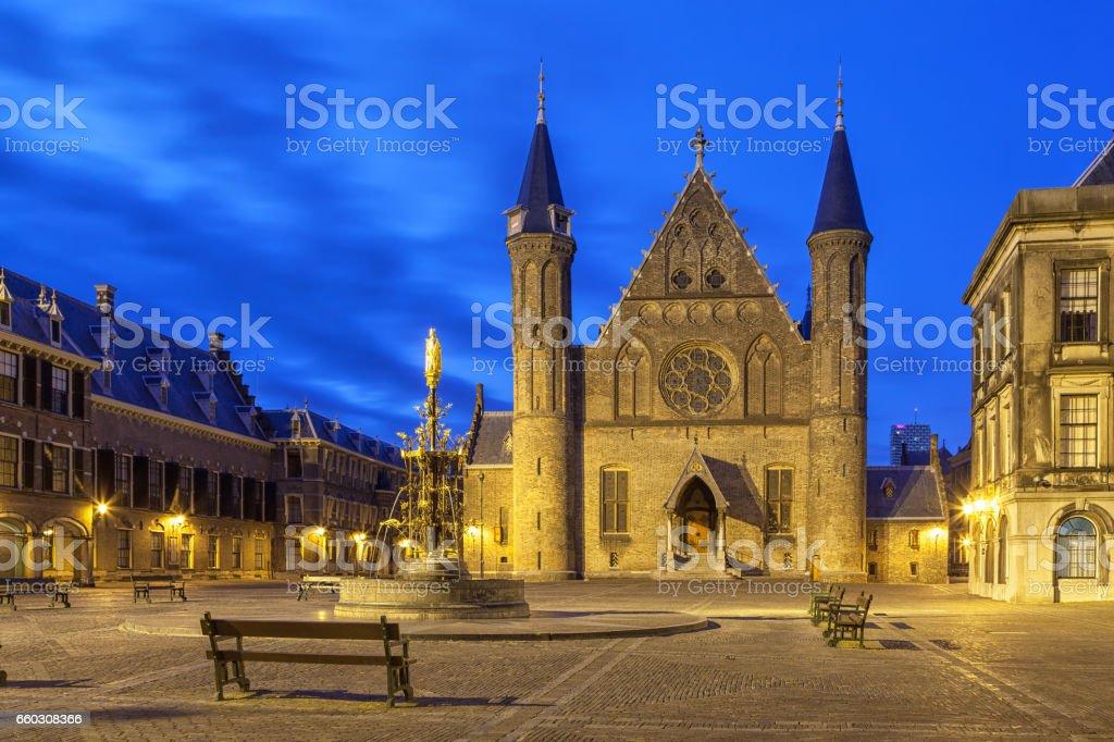 Illuminated gothic facade of Ridderzaal in Binnenhof, Hague stock photo
