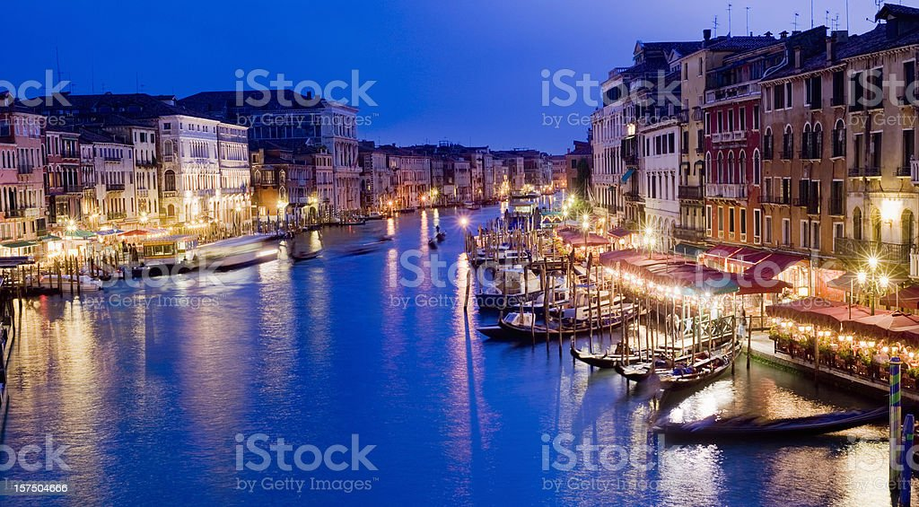 Illuminated Grand Canal at Night in Venice Italy royalty-free stock photo
