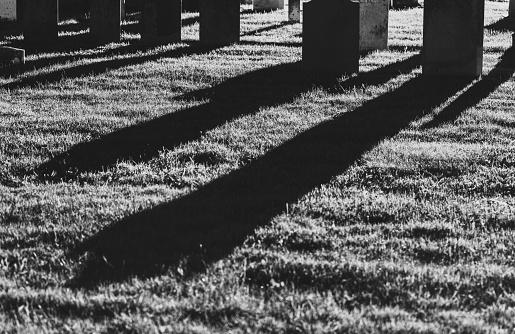 19th century gravestones at night.  Long exposure.