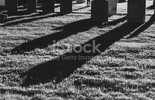 19th century gravestones at night.  Long exposure.