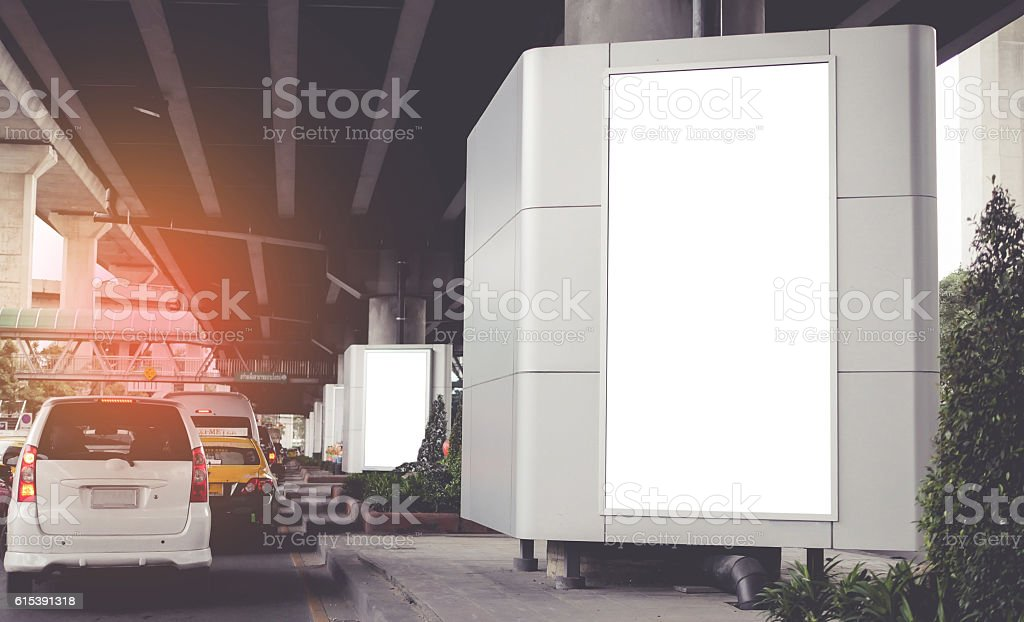 Illuminated gray billboard with copy space for your text message stock photo