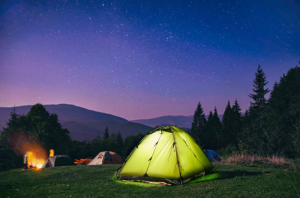 Illuminated  green  tent under stars at night  forest stock photo