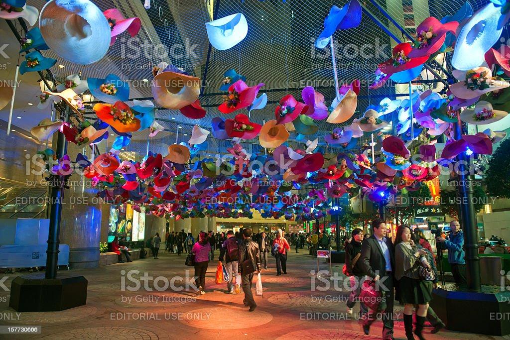 Illuminated Hats in Hong Kong royalty-free stock photo
