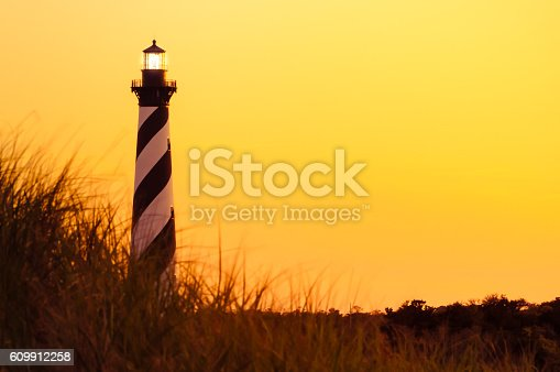 Cape Hatteras light house located in North Carolina, taken during at dusk.