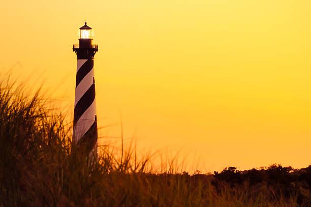 Illuminated  Hatteras Lighthouse stock photo