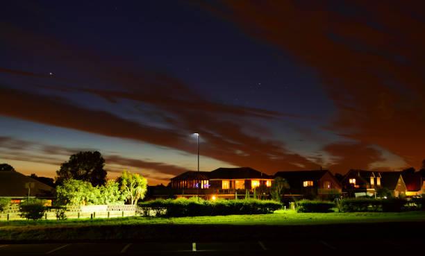 Illuminated Houses at Yaverland, Isle of Wight stock photo