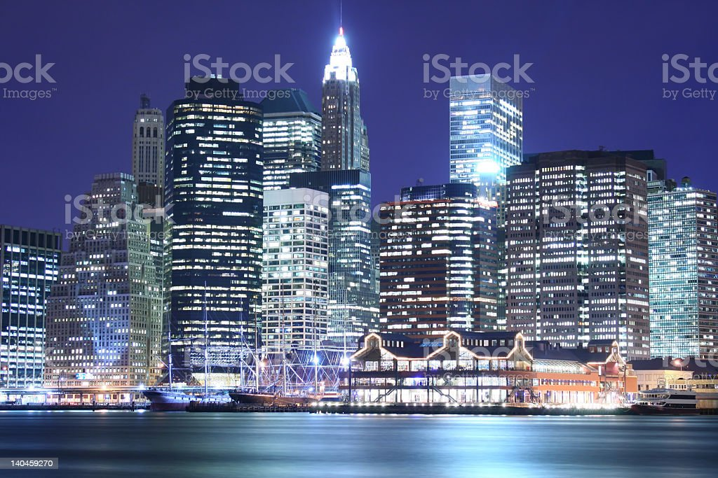 Illuminated image of low Manhattan skyline at night royalty-free stock photo