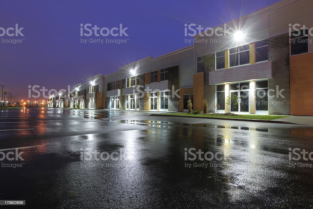 Illuminated Industries at Night stock photo
